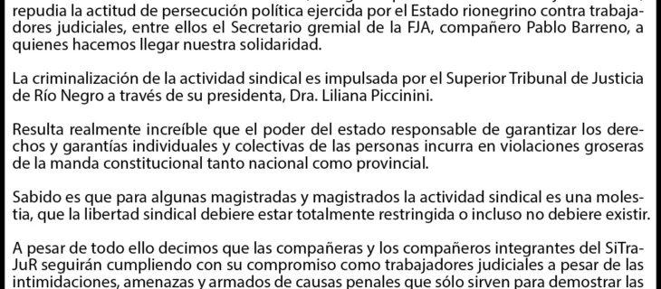 BASTA DE PERSECUCIÓN POLÍTICA GREMIAL EN RÍO NEGRO